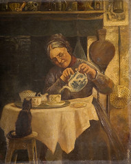 Old woman pouring tea, unknown artist, 19th ce...
