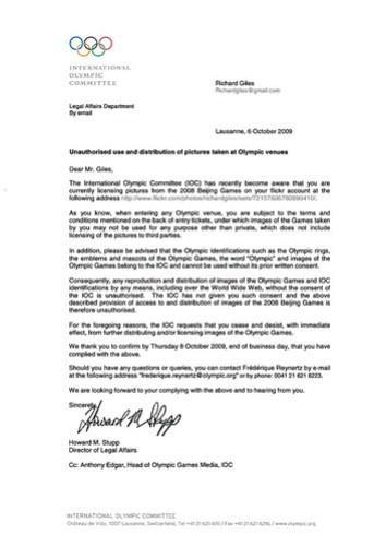 IOC Cease and Desist