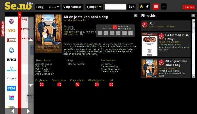 Se.no med terningkast på filmer fra andre nettsteder