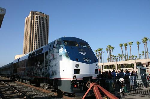 Front of the Amtrak Christmas Carol train