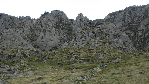 The rugged North West Face of St Sunday Crag and Pinnacle Ridge