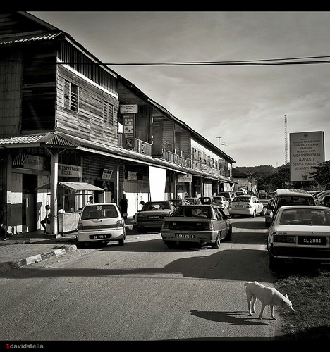 old wooden shophouses at kinarut town BW