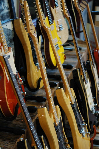 Scratch and Dent Rack at St. Blues Guitar Workshop