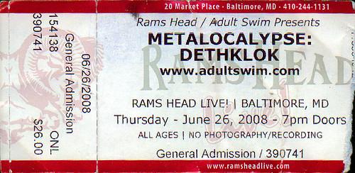 20080626 - Dethklok ticket stub