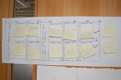 The stylish unagenda chart, filled with pretty post-its for the sessions