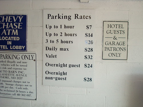 Parking Rates, Sheraton Hotel