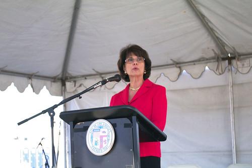 Congresswoman Lucille Roybal-Allard showed up to make a speech at the Little Tokyo/Arts District ribbon cutting.