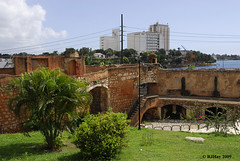 Looking out on the exterior courtyard.  Alcazar de Colon (Palacio de Diego Colon), Santo Domingo, Dominican Republic