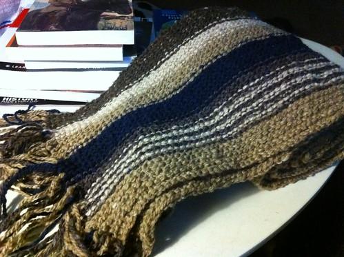 Striped garter-stitch length-wise scarf