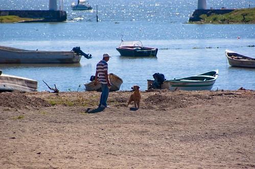 Jugando sobre la arena y el lago