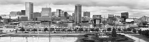 Stormy Baltimore Inner Harbor Panorama