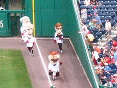 Teddy Roosevelt rides a motor scooter in the presidents race at Nationals Park