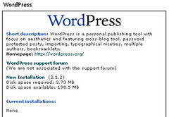 WordPress installation on Fantastico