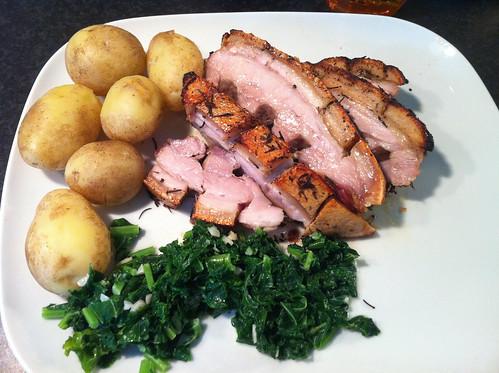 Dinner is ready. Pork belly. New potatoes. Creamed kale(from our garden!). OM NOM NOM