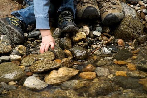 Hand, Rocks, Shoes