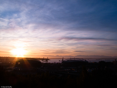 Seattle stadiums at sunset