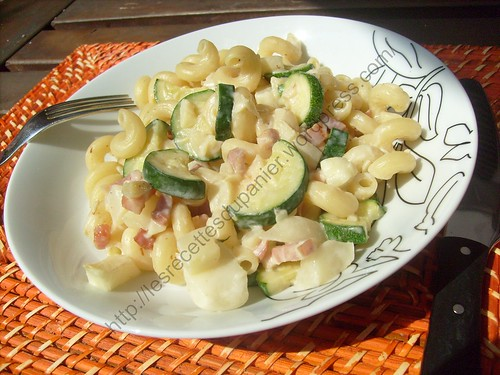 Cellentani aux courgettes et pâtisson / Cellentani with pattypan squash and zucchini
