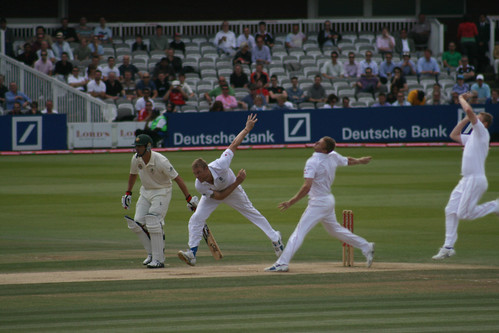 Flintoff charging in at his unplayable best. Photo: RNLJ&C/Flickr