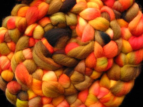 Autumn Splendor  - 8 oz Hand Dyed Corriedale Wool Top Roving