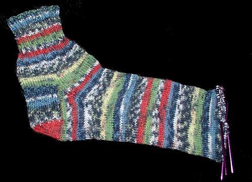 sock nearing toe