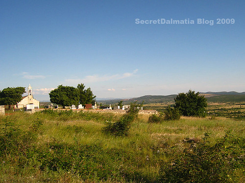 The church on long gone standing Roman Forum of Asseria. Notice the fields in the distance.