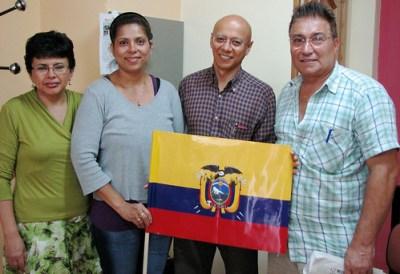 Sandra Bustamante, 2nd from left, with Oscar Jara at the SENAMI office in Madrid. (Photo: Jelena Kopanja)
