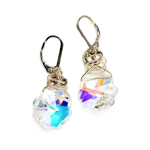 Fizzs new earrings incorporate vintage Swarovski crystal