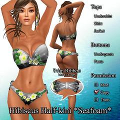 Hibiscus Half-kini *Seafoam* DarkGray