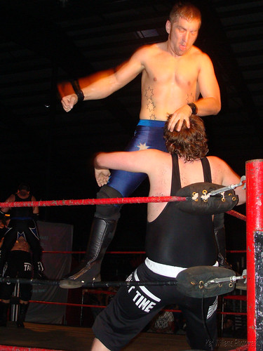 Dingo pummels Pierre Abernathy in his and Nick Tysons attempt to win the LWA Tag Team Titles on May 30, 2009. Photo by Kari Williams