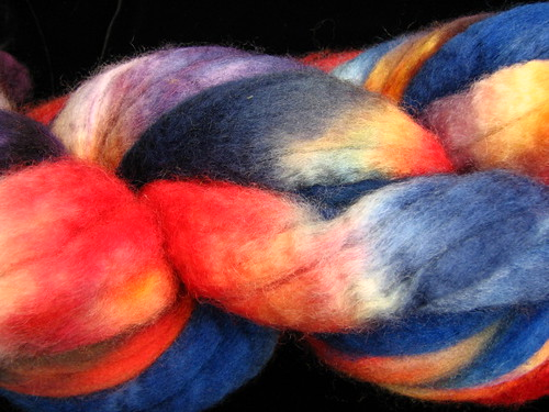 Spunky Hand Painted BFL Wool Roving