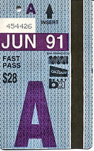 Muni Fast Pass from 1991