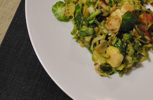 Shredded Brussels Sprouts with Bacon and Parmesan
