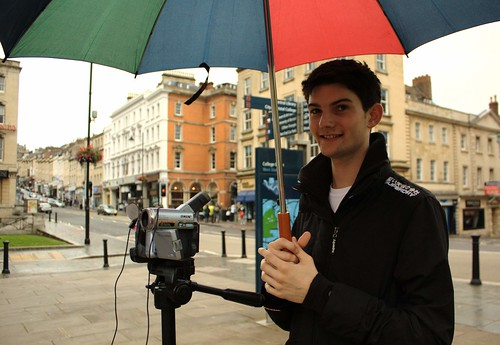 Tim, the sound recordist, keeping the gear (and himself) dry