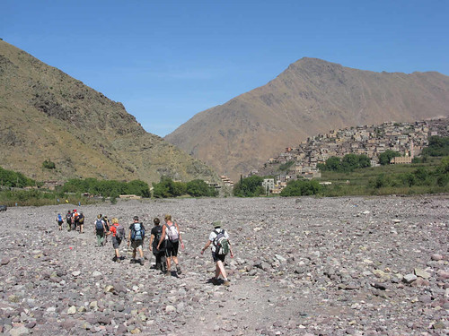 Crossing the dry river bed