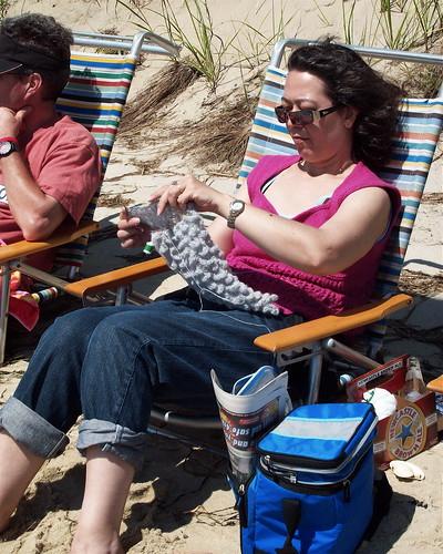 Me knitting on the beach