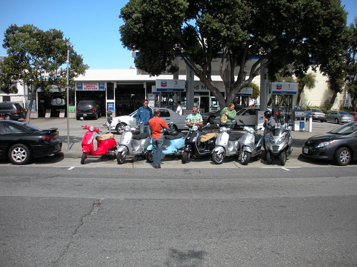 Our scooter gang parked for lunch.
