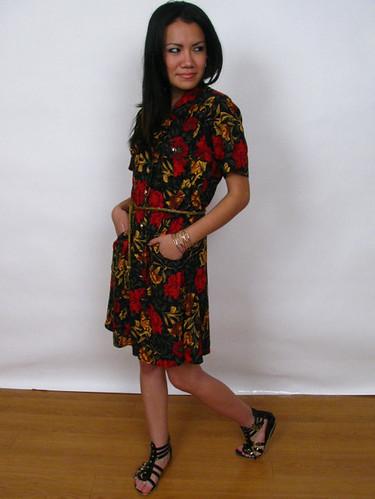 90's VINTAGE FLORAL SHIRT DRESS