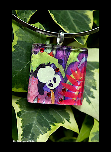 """TIPSY"" the panda pendant with matching framable print/gift card by you."
