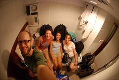 Me, Carrie, Michelle and Karen in our teeny Chungking Mansions hotel room