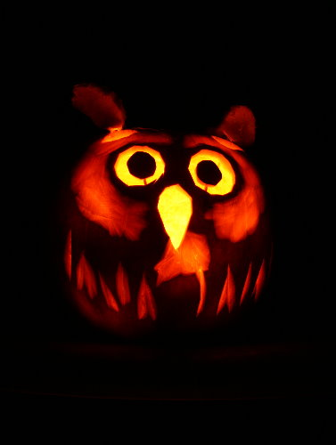 Jack-o-Lantern - Great Horned Owl with mouse