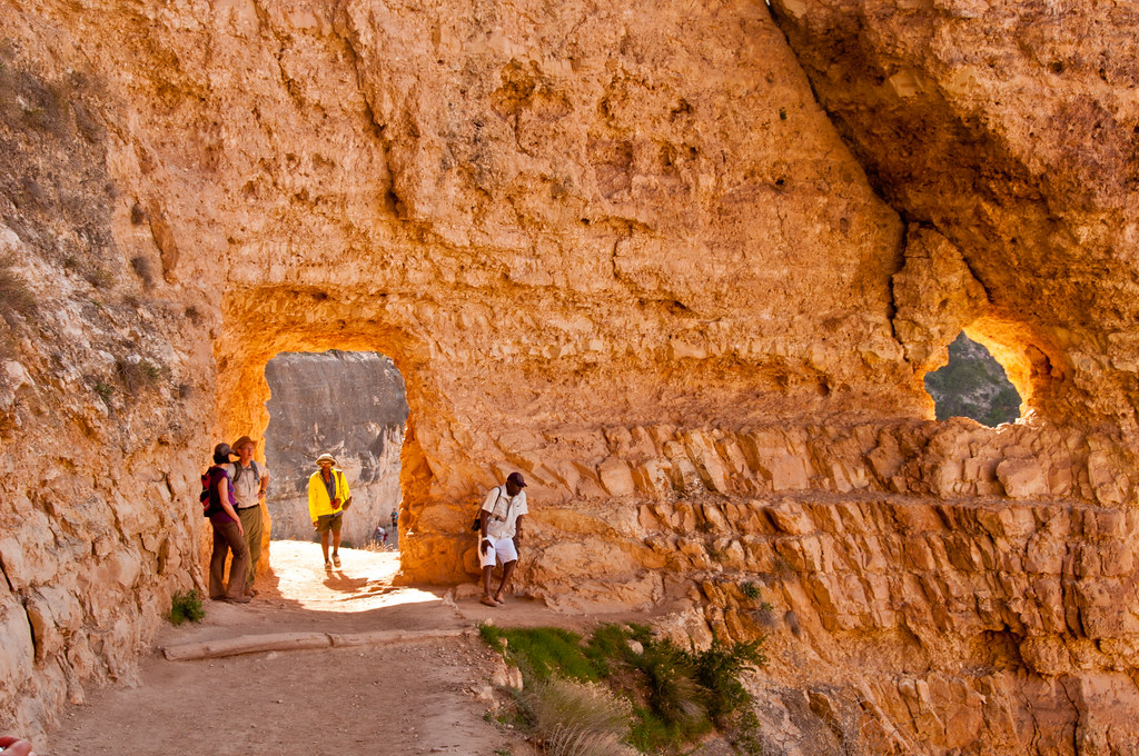 A man made tunnel on the Bright Angel Trail