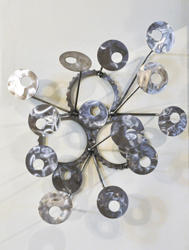 """""""wall sculpture #25"""" metal/recycled parts, 26""""x22""""x8"""" $395 (c) 2009"""