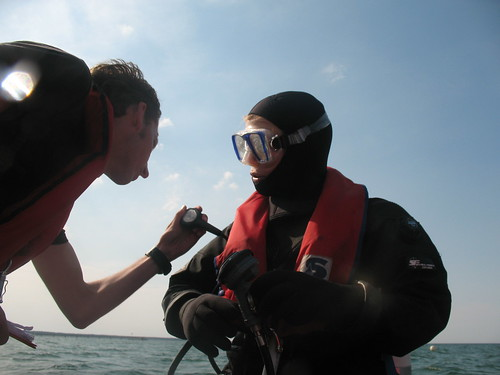 Supervisor checks before dive
