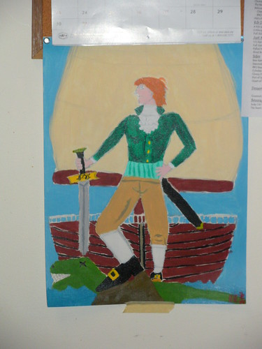 Thomas Jefferson as a pirate slaying a dinosaur, painted by me.
