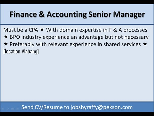 Finance and Accounting Senior Manager