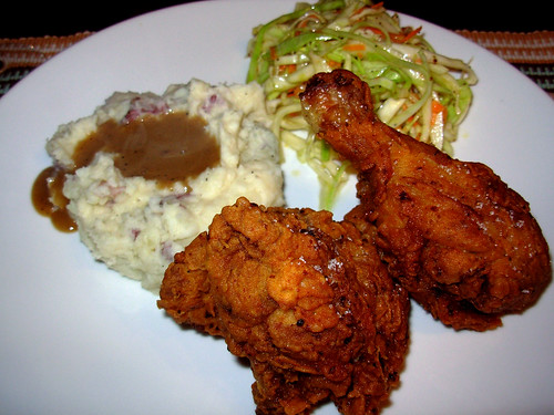Fried chicken, mashed potatoes with homemade chicken gravy, coleslaw