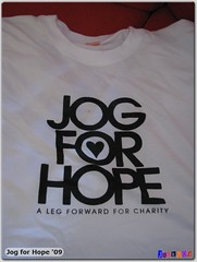 Jog for Hope t-shirt (front)