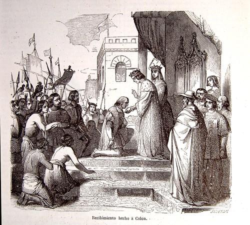 Los Reyes Católicos reciben a Cristobal Colón