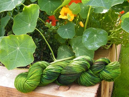 Bright Green Overdyed Sock Yarn