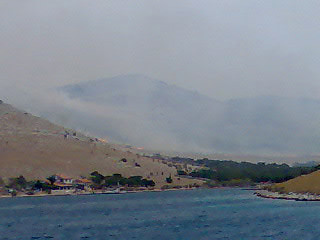 The bay of Šipnate. Fire approaching